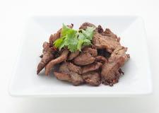 Carne de porco fritada com folhas do aipo Imagens de Stock Royalty Free