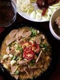 Carne de porco fritada com vegetais Imagem de Stock