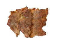 Carne de porco fritada deliciosa isolada no fundo branco com trajeto de grampeamento fotos de stock