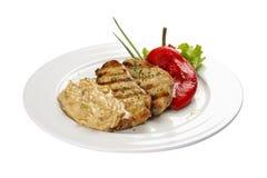 Carne de porco fritada no estilo let?o imagens de stock