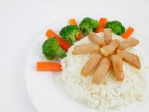 Carne de porco fritada tailandesa no arroz Imagem de Stock