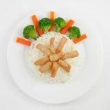 Carne de porco fritada tailandesa no arroz Imagens de Stock