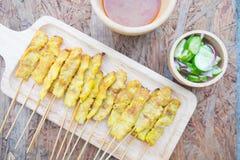 Carne de porco grelhada Satay Fotografia de Stock Royalty Free
