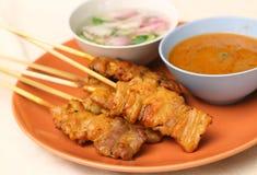 Carne de porco grelhada Satay Fotos de Stock Royalty Free
