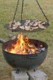 Carne de porco lateral na grade Foto de Stock Royalty Free