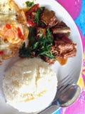 Carne de porco picante com folhas da manjericão Fotos de Stock