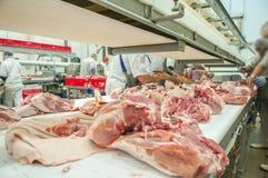 Carne de porco que processa a indústria alimentar da carne Foto de Stock Royalty Free