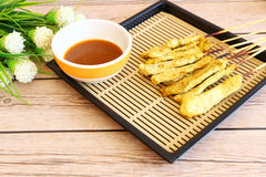 Carne de porco Satay com molho do amendoim fotografia de stock