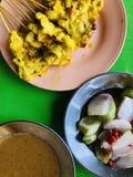 Carne de porco Satay com molho do amendoim foto de stock