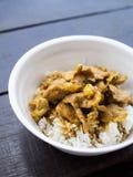 Carne de porco vermelha do caril com arroz no copo da espuma foto de stock