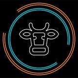 Carne de vaca animal de la silueta de la vaca, carne de la granja ilustración del vector