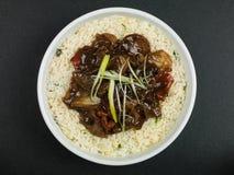 Carne de vaca china y negro Bean Stir Fry Meal Imagen de archivo