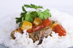Carne de vaca con la salsa en el arroz Imágenes de archivo libres de regalías