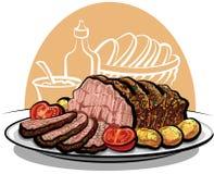 Carne de vaca de carne asada con las patatas Imagenes de archivo