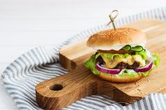 Carne de vaca deliciosa de las hamburguesas Foto de archivo