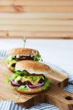 Carne de vaca deliciosa de las hamburguesas Imagen de archivo libre de regalías