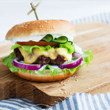 Carne de vaca deliciosa de las hamburguesas Imagen de archivo