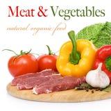 Carne de vaca e ingredientes sin procesar Fotos de archivo