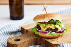 Carne de vaca sabrosa de las hamburguesas Foto de archivo libre de regalías