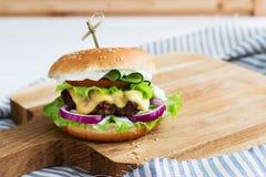 Carne de vaca sabrosa de las hamburguesas Fotografía de archivo