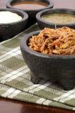 Carne de vaca y salsas mexicanas destrozadas Imagen de archivo libre de regalías
