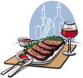 Carne de vaca y vino de carne asada Fotos de archivo libres de regalías
