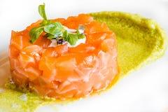 Carne del atún con la salsa verde Fotografía de archivo libre de regalías