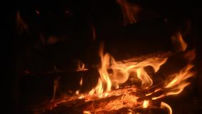 Carne del barbecue sul fuoco non aperto picnic di estate nel paese video d archivio
