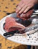 Carne del BBQ che è preparata Fotografia Stock Libera da Diritti