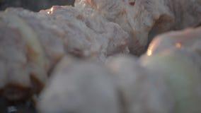 Carne del cuoco dell'uomo sugli spiedi Carne arrostita di giri della mano dell'uomo su mangal Cottura dell'alimento di picnic Pre stock footage
