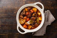Carne del manzo stufata con le patate Fotografia Stock