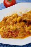 Carne del pollo con la salsa di curry ed il riso bollito Fotografia Stock Libera da Diritti
