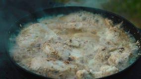 Carne del pollo en un sartén almacen de metraje de vídeo