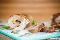 Carne del rotolo con i funghi Immagini Stock Libere da Diritti