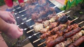 Carne deliciosa de la barbacoa cocinada en la parrilla Un partido de la barbacoa Los pedazos del cerdo de carne asaron en un fueg almacen de video