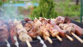 Carne deliciosa de la barbacoa cocinada en la parrilla Un partido de la barbacoa Los pedazos del cerdo de carne asaron en un fueg almacen de metraje de vídeo