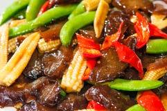 Carne dell'agnello della frittura di scalpore con le verdure Fotografia Stock