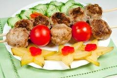 Carne della griglia con le verdure Fotografia Stock