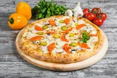 Carne della pizza con formaggio ed il cetriolo, con i rosmarini e le spezie immagine stock
