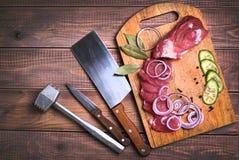 Carne di maiale affettata della carne cruda Immagini Stock Libere da Diritti