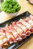 Carne di maiale affettata freschezza per la griglia Fotografia Stock