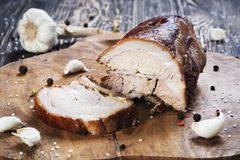 Carne di maiale al forno fredda affettata immagine stock