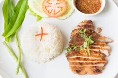 Carne di maiale arrostita con il riso fritto dell'aglio Fotografie Stock Libere da Diritti