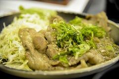 Carne di maiale arrostita con la salsa di soia per cucina giapponese Fotografia Stock Libera da Diritti