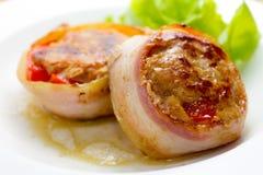 carne di maiale Bacon-avvolta fotografia stock libera da diritti