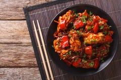 Carne di maiale brasata in salsa agrodolce con il primo piano delle verdure H Fotografia Stock Libera da Diritti