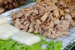 Carne di maiale con riso appiccicoso Fotografia Stock Libera da Diritti