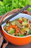 Carne di maiale con riso e le verdure Fotografia Stock