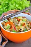 Carne di maiale con riso e le verdure Fotografie Stock
