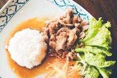 Carne di maiale coreana con l'alimento tailandese del riso immagine stock libera da diritti